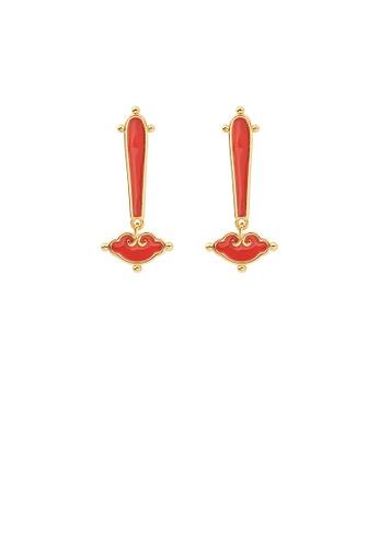 Glamorousky silver Fashion and Elegant Golden Enamel Cloud Stud Earring DFD75AC08243C3GS_1