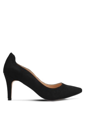 ZALORA 黑色 經典麂皮高跟鞋 5A82ESH16F029AGS_1