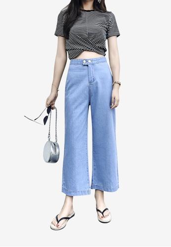Lara blue Women Denim Wide Leg Ankle-length Pants 20AEFAA4399158GS_1