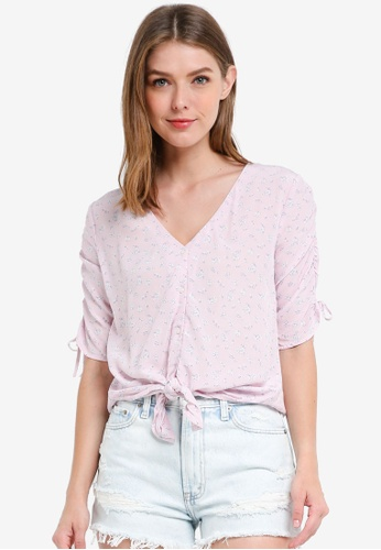 Abercrombie & Fitch pink Cinched Sleeve Printed Top 3EC69AA2C2F9A4GS_1