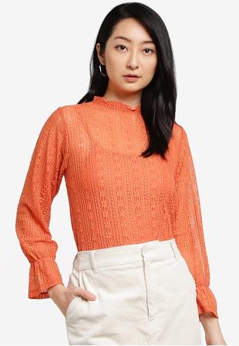 LOWRYS FARM orange Lace Top D7FB6AA13B2097GS_1