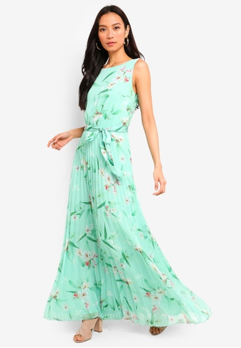 afdd11cc3de Shop Wallis Mint Green Floral Pleated Maxi Dress Online on ZALORA ...