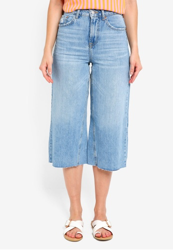 8635e56ad10a Buy TOPSHOP Petite Mid Blue Cropped Wide Leg Jeans Online on ZALORA ...