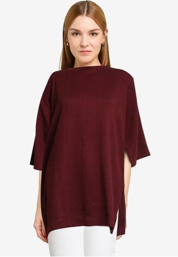 LOWRYS FARM red Split Sleeves Knit Top D0123AAF56A834GS_1