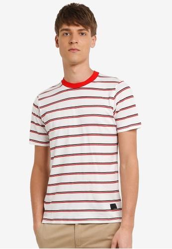 Flesh IMP 白色 Stripple Stripe T-shirt FL064AA0RN9XMY_1