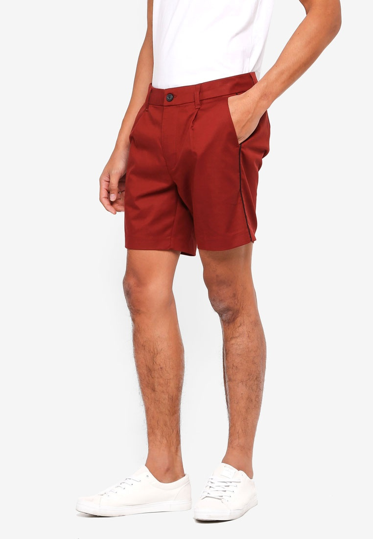 Burgundy Tencel Smart Burgundy Pleated Shorts Topman YREwqS