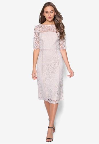 蕾絲拼esprit分店接五分袖連身裙, 服飾, 洋裝