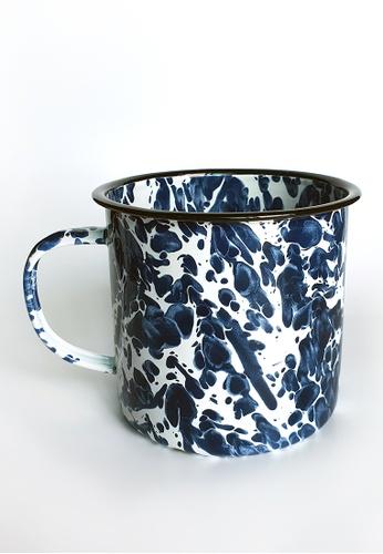 Your Lagom white and blue XL Paint Splatter Enamel Mug F9C56HL55F43BFGS_1