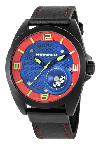 HUMMER red Hummer 3H Black Leather Strap Gents Watch HM1004-1785 728C0ACDEBBF5DGS_1