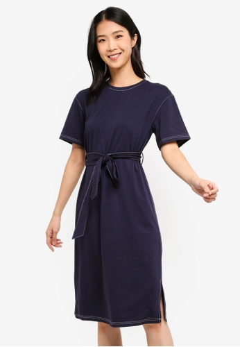 ZALORA BASICS navy Basic Contrast Stitching T-Shirt Dress 0A49DAAFD0BB33GS_1