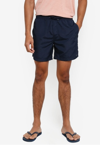 !Solid navy Hector Nylon Shorts F6262AA6CDC418GS_1