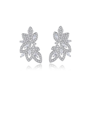 Glamorousky white Fashion and Elegant Leaf Stud Earrings with Cubic Zirconia 93D8DAC2482ED3GS_1