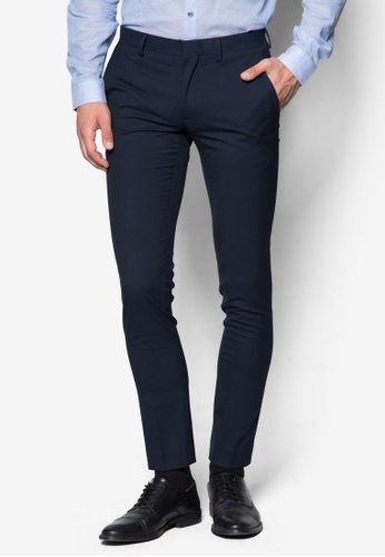 Topman blue Navy Textured Ultra Skinny Fit Suit Trousers TO250AA50BSJSG_1