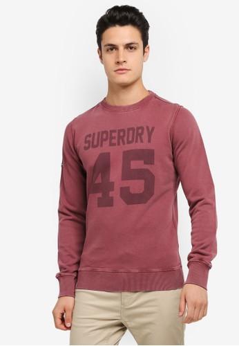 Superdry red Heritage Wash Crew Sweatshirt SU137AA0SLO5MY_1