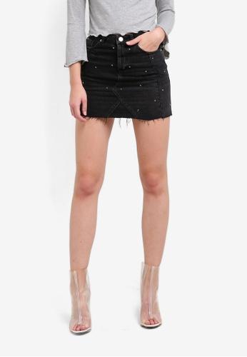 Miss Selfridge black Black Diamante Denim Skirt MI665AA0S6FXMY_1