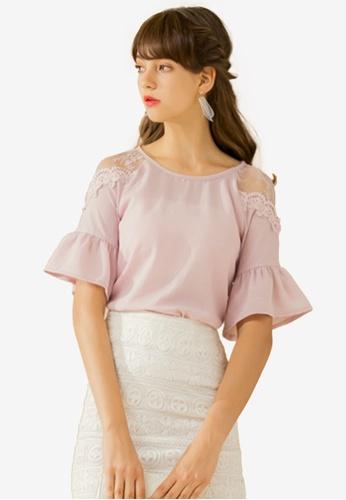 Eyescream pink Lace Insert Ruffle Sleeve Top 06109AAB4BF60FGS_1