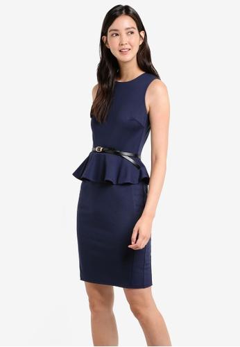 ZALORA navy Peplem Fitted Dress 47642AA3359A35GS_1
