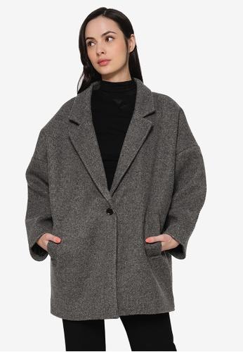 LOWRYS FARM grey Lapel Knit Coat Jacket C8D3EAAC8798D3GS_1