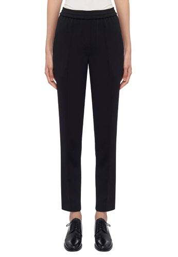 CK CALVIN KLEIN black Stretch Poly Crepe Elasticated Pants EDF9AAA50B395AGS_1