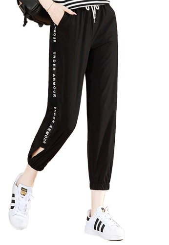 A-IN GIRLS black Elastic Waist Sweatpants 321FEAA76D69E9GS_1