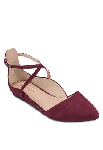 Sulesprit暢貨中心tane 交叉踝帶尖頭平底鞋, 女鞋, 鞋