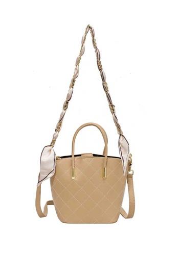 Lara yellow Women's Rhombic Embossed Leather Zipper Handbag Cross-body Bag - Light Yellow 3BA30AC85E16DDGS_1