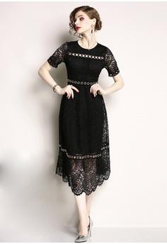 7b5d4bcfafde Sunnydaysweety black 2018 New Black Lace One Piece Dress A060815BK  C7EB6AA24250CCGS 1
