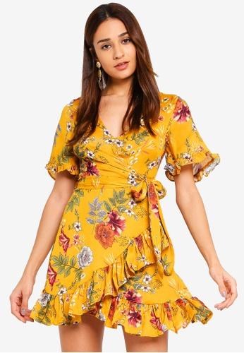 INDIKAH yellow Short Sleeve Ruffle Hem Surplice Skater Dress With Side Tie 3CEF2AA1C4674CGS_1