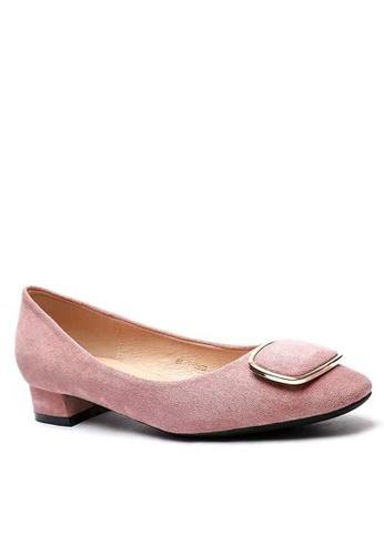 Twenty Eight Shoes 尖頭橢圓扣絨面高踭鞋1205-39 61098SHC227B5CGS_1