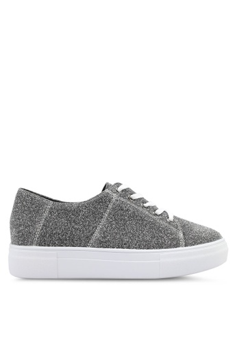 Something Borrowed silver Metallic Mesh Lace Up Sneakers 470FESH269A411GS_1