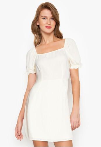 ZALORA BASICS beige Square Neck Puff Sleeve Dress DD815AA1541D3FGS_1