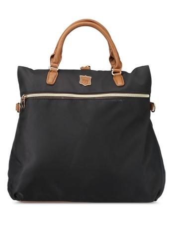 NUVEAU black Pu-Trimmed Nylon 3-Way Sling Backpack NU245AC0SRYJMY_1