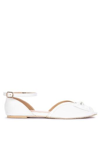 S&H white Mady Peeptoe Flats AB460SHF007770GS_1