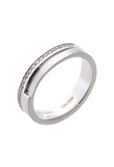 Etched Eternity Silver Ring with Artificial Diamonds for Women lr0028f