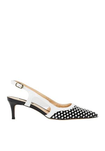 Nina Armando black and white Harper Patent Leather Slingback Low Heel NI342SH0FV8XSG_1