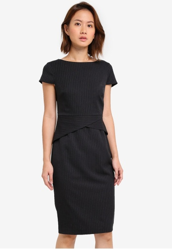 Dorothy Perkins black Joules Pinstripe Dress DO816AA0ST0BMY_1