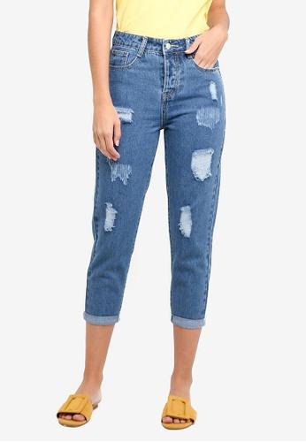 ZALORA blue Denim Distressed Mom Fit Jeans 6CD28AA86585BCGS_1