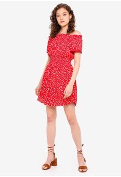 90e57e03b4 Miss Selfridge Petite Red Printed Bardot Dress RM 179.00. Sizes 4 6 8 10 12