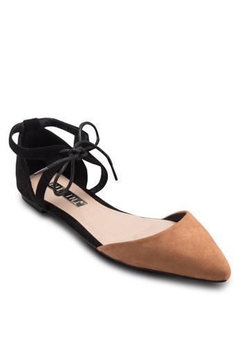 Simba 繫帶esprit台灣撞色側鏤空平底鞋, 女鞋, 鞋