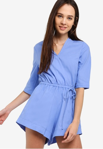 Something Borrowed blue Cotton Linen Playsuit DC497AAD60DEB5GS_1