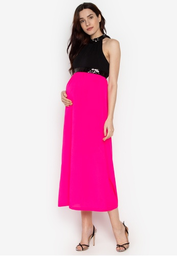 0cdfb3405969e Mommy Plus pink Louisa Empire Waist Sequined Halter Maternity Dress  77A1FAAF5FD81CGS_1
