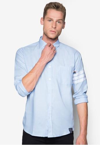 條紋袖子長袖襯esprit門市地址衫, 服飾, 服飾