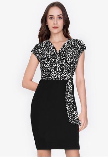 ZALORA WORK multi Side Wrap Contrast Dress 3DE56AAC8EADD5GS_1