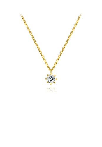 Glamorousky white 925 Sterling Silver Plated Gold Simple and Delicate Geometric Round Cubic Zirconia Pendant with Necklace AA5DBAC19199F5GS_1