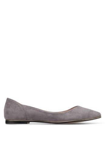 ZALORA grey Pointed Ballerinas with Metal Trimmings ABWGVSH0000074GS_1