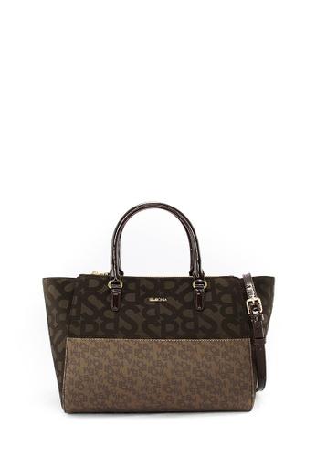 a22657f7e3dd SEMBONIA brown Jacquard Trimmed Leather Tote Bag (Dark Brown)  SE598AC0RWLCMY 1