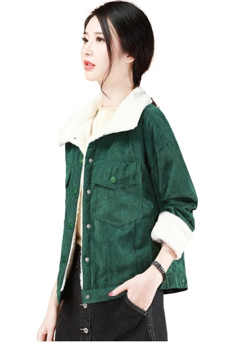 A-IN GIRLS white and green Corduroy Lapel With Velvet Jacket C73E8AA0981082GS_1