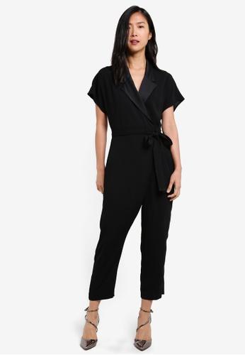 River Island black Tailored Tie Waist Jumpsuit RI009AA0S8SXMY_1