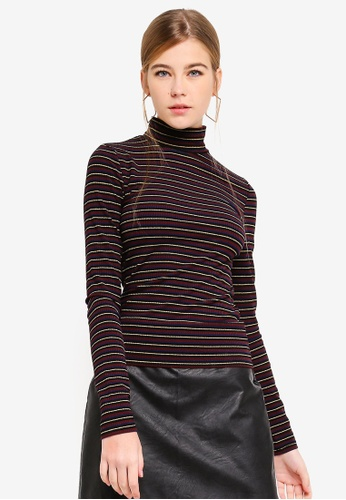 de152c5832a Stripe Glitter Funnel Neck Top
