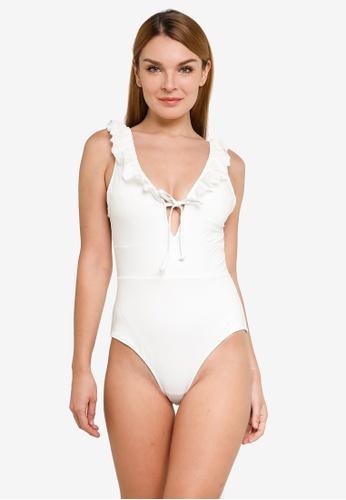 H&M white Swimsuit With Flounces 08C29US6E6FE23GS_1